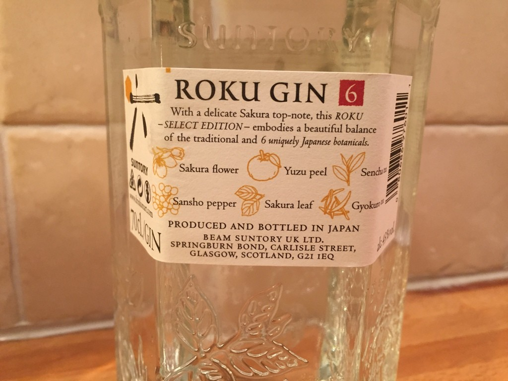 Roku Gin Lable Back